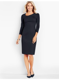Drape-Neck Ponte Sheath Dress