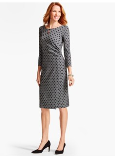 Bella Polka-Dot Side-Drape Dress