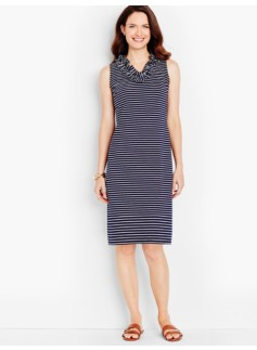 Ruffled V-Neck Shift Dress-Stripes