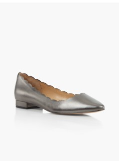 Edison Scalloped Flats-Metallic Leather