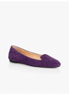 Georgina Quilted Flats-Suede