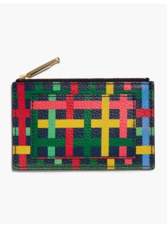 Fun Plaid Pebble Leather Zip Card Case