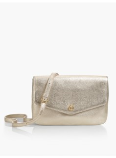 Double-Gusset Crossbody Bag-Metallic