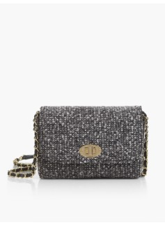 Turnlock-Flap Crossbody Bag-Tweed Boucle