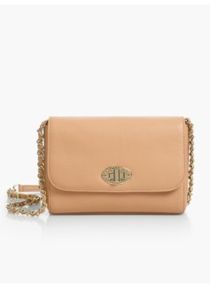 Turnlock-Flap Crossbody Bag - Pebbled Leather