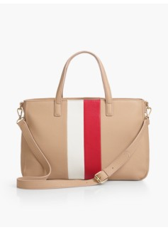 Pebbled Leather Stripe Satchel
