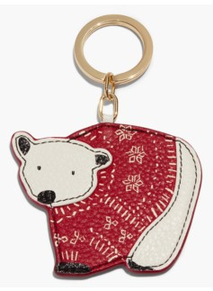 Leather Key Fob-Polar Bear