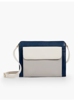Zip-Top Crossbody Bag-Colorblocked
