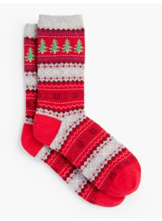 Woman Christmas Tree Fair Isle Socks