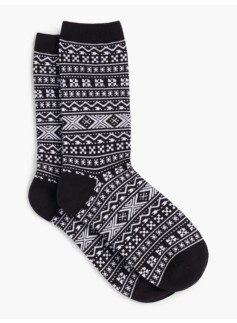Womans Holiday Fair Isle Slipper Sock