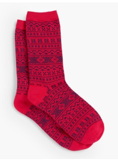 Holiday Fair Isle Slipper Sock