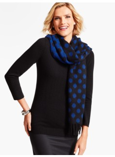 Reversible Polka Dot Waterweave Cashmere Wrap