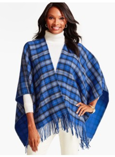 Fringed Holiday Plaid Wrap