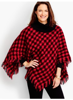 Fringed Plaid Boucl� Poncho