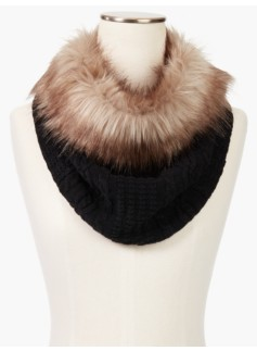 Faux Fur-Trimmed Neck Warmer