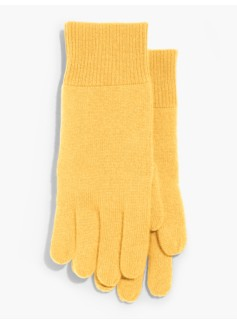 Ribbed Trim Cashmere Gloves