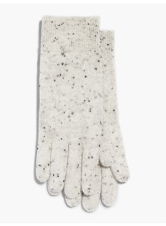 Ribbed Trim Cashmere Gloves-Donegal Tweed