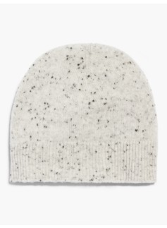 Ribbed Trim Cashmere Hat-Donegal Tweed