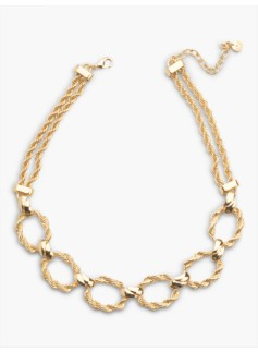 Twisted-Rope Double-Chain Necklace