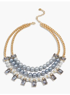 Pearl-Drop Bib Necklace