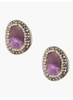 Pave Bezel Cabochon Earrings