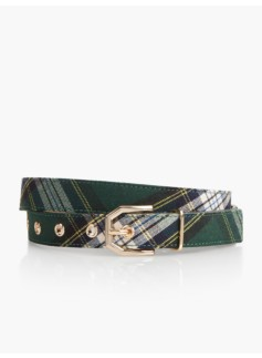 Womans Bonfire Plaid Sculpted Buckle Belt