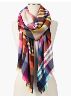 Crinkled Plaid Fringed Scarf