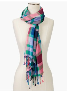 Fringed Madras Plaid Scarf