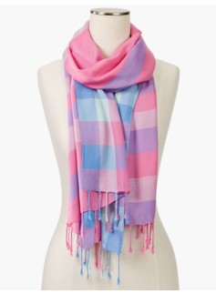 Fringed Pastel Plaid Scarf