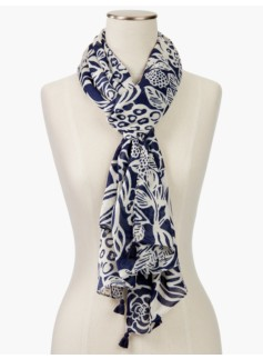 Tasseled Flowers & Fruit Scarf