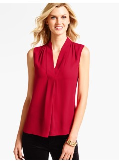 Faux Wrap V-Neck Blouse
