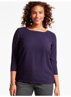 Scalloped Split-Back Blouse