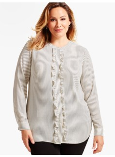 Ruffle Band-Collar Shirt - Dot Stripes