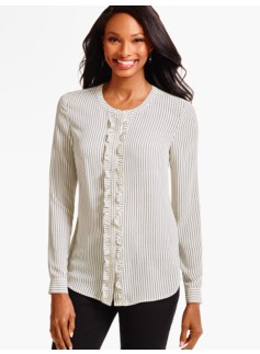 Ruffle Band-Collar Shirt-Dot Stripes