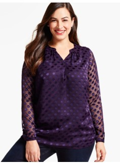 Burn-Out Polka Dot Blouse