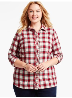 Ruffled Yuletide Plaid Shirt