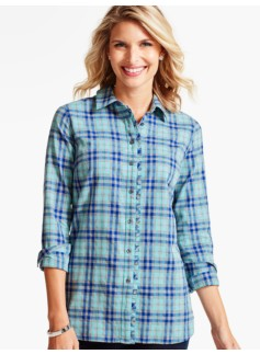 Ruffled Yuletide Plaid Shirt-Merriment Plaid