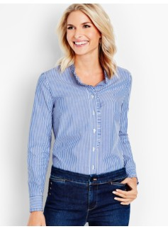 Pleated-Ruffle Stripe Shirt