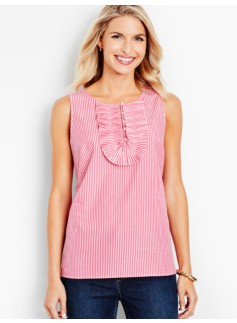 Pleated-Ruffle Top - Rhodes Stripe