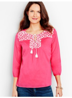 Tie-Front Embroidered Popover