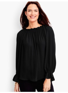 Gathered-Scoopneck Blouse