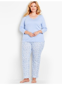 Woman V-Neck Lace Tee & Knit Hot Cocoa Pant Set