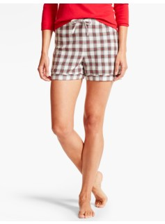 Mistletoe Plaid Flannel Short