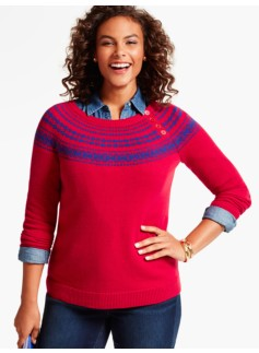 Button-Yoke Fair Isle Sweater