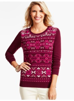 Beaded Fair Isle Blocked Sweater