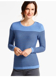 Zip-Shoulder Block-Stripe Sweater