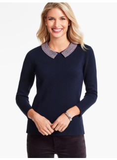 Beaded-Collar Milano Sweater