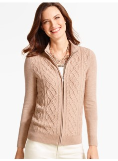 Zip-Front Aran-Cable Cardigan