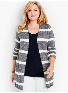 Long Flyaway Cardigan-Marled Stripes