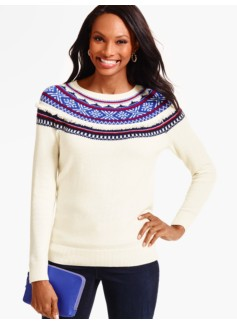 Fringed Snowflake Fair Isle Sweater